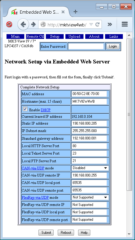 CAN Terminal HTTP Server Details